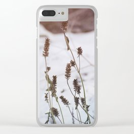 Plants in the snow Clear iPhone Case