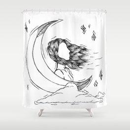 Ma lune, mes nuages, et mes étoiles Shower Curtain