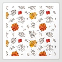 Hand sketch black orange red fall leaves Art Print