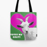 totes Tote Bags featuring Totes Ma Goats Pink by BACK to THE ROOTS