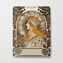La Plume Zodiac by Alphonse Maria Mucha Metal Print