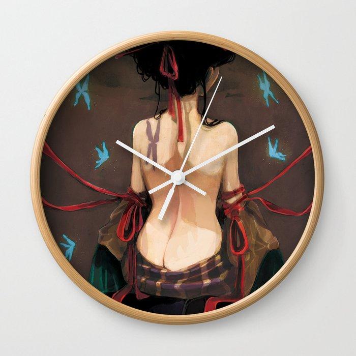 Geisha De Dos geisha de dos. wall clockludovicjacqz | society6