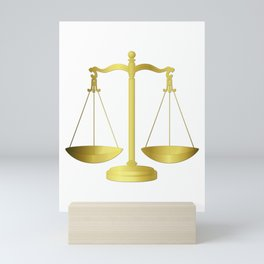 Gold Scales of Justice Lawyers Hotline Mini Art Print