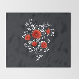 Poppy graphic Throw Blanket