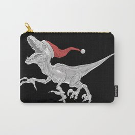 Black and White Christmas Velociraptor Carry-All Pouch