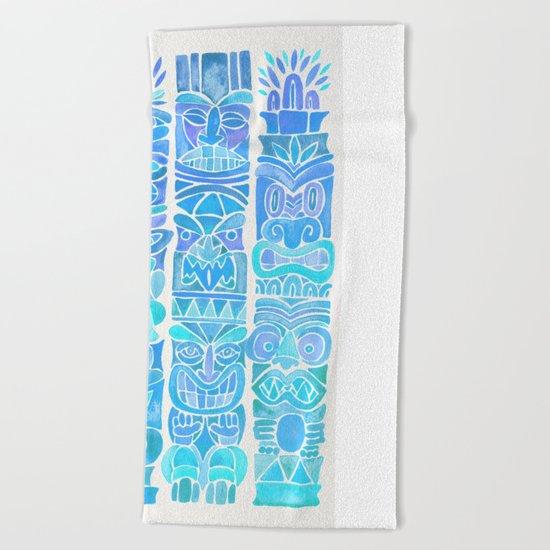 Tiki Totems – Turquoise Palette Beach Towel