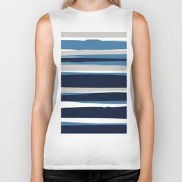Ocean Beach Striped Landscape, Navy, Blue, Gray Biker Tank