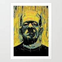 frankenstein Art Prints featuring Frankenstein by nicebleed