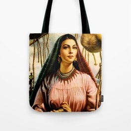 Jesus Helguera Painting of a Mexican Fisher Girl With Basket Tote Bag
