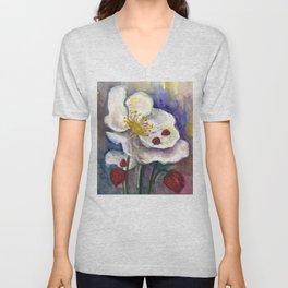 Lady Birds, Strawberry Flowers Unisex V-Neck