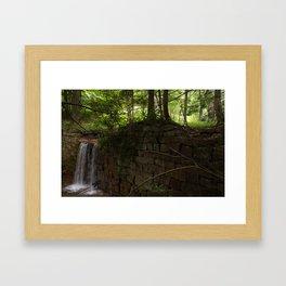 Stream Water running over a Stone Wall Spillway Framed Art Print