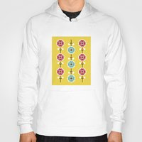scandinavian Hoodies featuring Scandinavian inspired flower pattern - yellow background by Hello Olive Designs