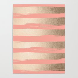 Painted Stripes Tahitian Gold on Coral Pink Poster