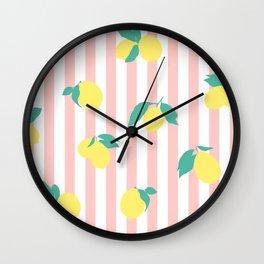Lemon stripe print Wall Clock