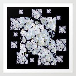 MODERN ART BLACK & WHITE FLORAL GARDEN Art Print
