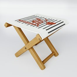 Red Love on Black and White Lines Folding Stool
