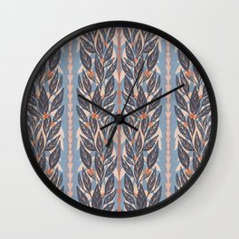 Navy Leaves on Blue Wall Clock