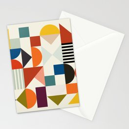 mid century retro shapes geometric Stationery Cards
