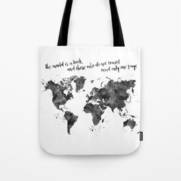 The world is a book, world map in black watercolor, square Tote Bag