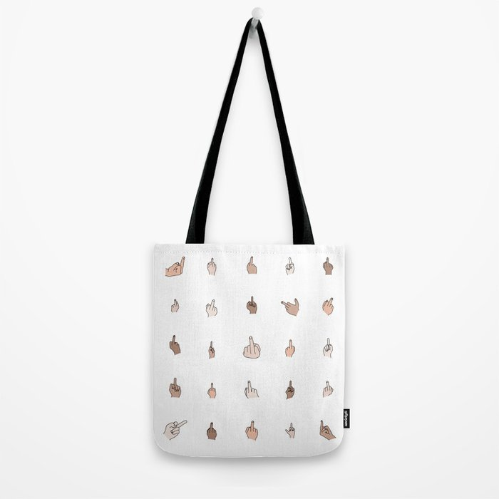 Middle Fingers Colored With Outlines Tote Bag