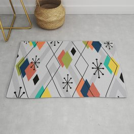 Mid Century Modern Scattered Diamonds Gray Multicolored Rug