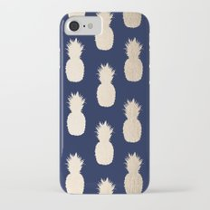 Gold Pineapple Pattern Navy Blue iPhone 7 Slim Case