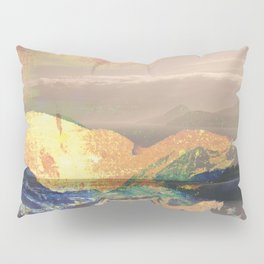 Vintage landscape layer collage photography - yellow Pillow Sham