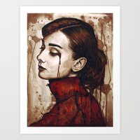audrey hepburn Art Prints featuring Audrey Hepburn by Olechka