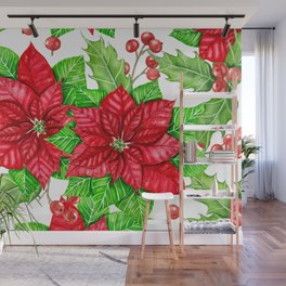 Poinsettia and holly berry watercolor Christmas pattern Wall Mural