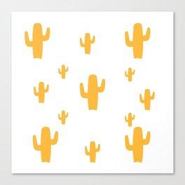 Mustard Cactus Pattern Canvas Print