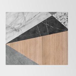 Marble, Garnite, Teak Wood Abstract Throw Blanket