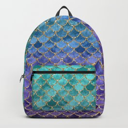 Blue Mermaid Fish Scales Ombre Backpack