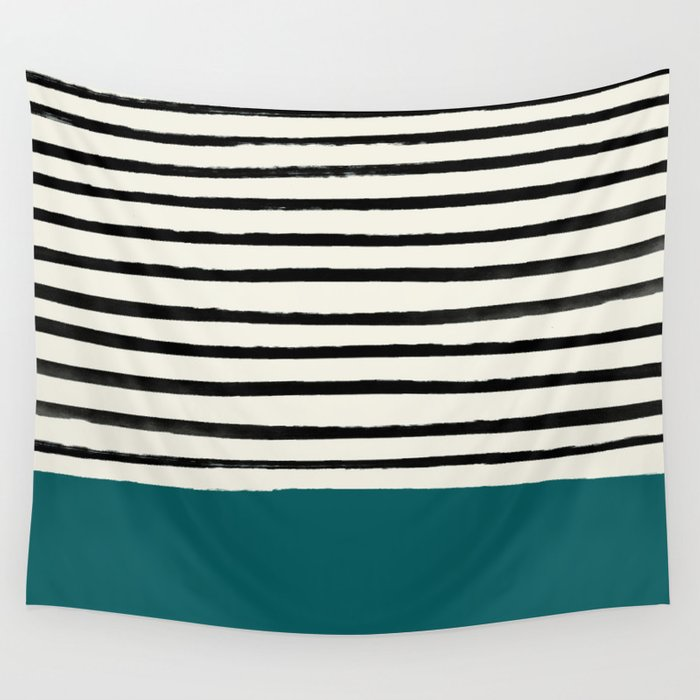 Dark Turquoise & Stripes Wall Tapestry