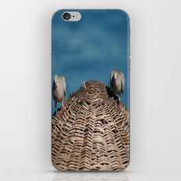 A Pair Of Doves On A Woven Sun Parasol iPhone Skin