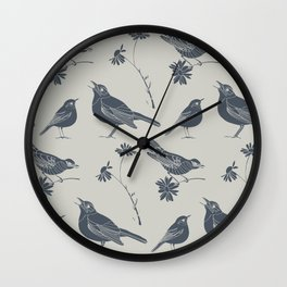 Birds and Daisies, drawing in blue and grey Wall Clock