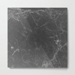 Marble Black Gray White Metal Print