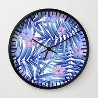 hawaiian Wall Clocks featuring Hawaiian Pattern by Marta Olga Klara