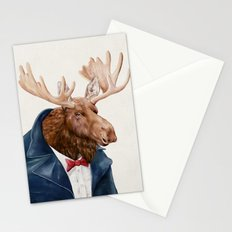 Moose in Navy Blue Stationery Cards