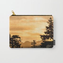PNW Sunset Orange Mountain Glow - Nature Photography Carry-All Pouch