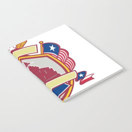 Texas Warship Lone Star Flag Crest Icon Notebook