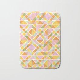 Cute Citrus Geometric Quilt Design Pattern Bath Mat