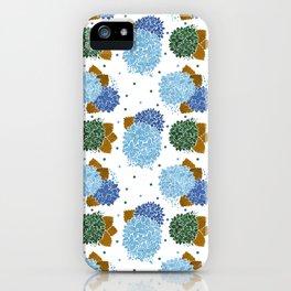 Blue green watercolor hydrangea flowers polka dots iPhone Case