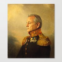 white Canvas Prints featuring Bill Murray - replaceface by replaceface