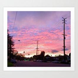 Pink City Sunset Art Print
