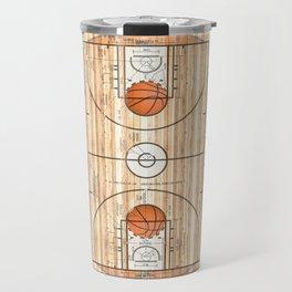 Basketball Court with Basketballs Travel Mug