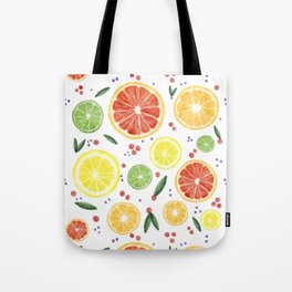 Watercolor Citrus Mosaic Tote Bag
