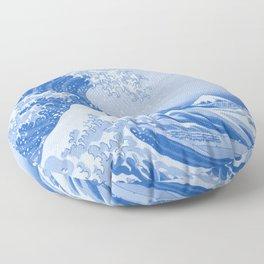 Cerulean Blue Porcelain Glaze Japanese Great Wave Floor Pillow