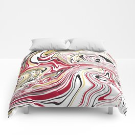 Red Gold Liquid Marble Comforters