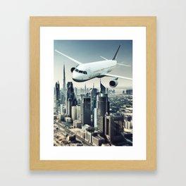dubai airplane Framed Art Print