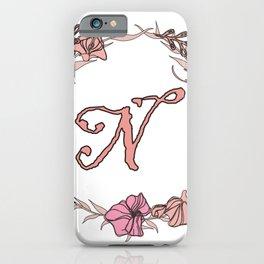 Letter N Rose Pink Initial Monogram - Letter n iPhone Case